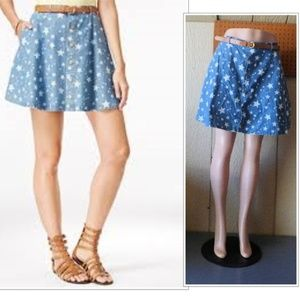American Rag Star Printed Belted Chambray Skirt